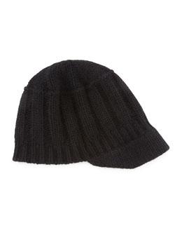 Ribbed Knit Peak Hat with Visor, Black