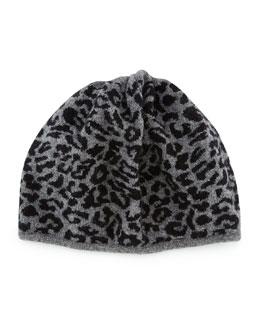 Leopard-Print Knit Beanie