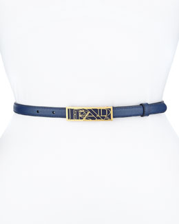 Saffiano Graphic-Logo Thin Belt, Blue (Bluette)