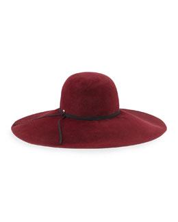 Iris Rabbit Felt Floppy Hat, Burgundy