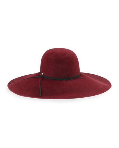 Inverni Iris Rabbit Felt Floppy Hat, Burgundy