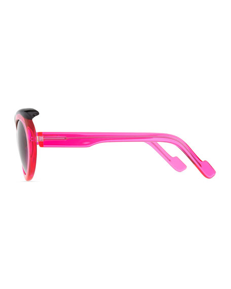 Plastic Oval Sunglasses with Curved Brow, Pink/Black