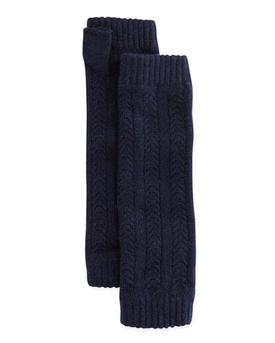 Cashmere Cable-Knit Wrist Warmers, French Navy