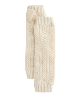 Cashmere Cable-Knit Wrist Warmers, Winter White