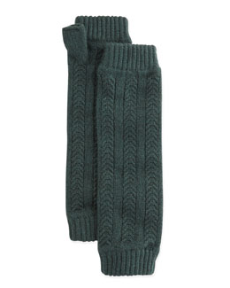 Cashmere Cable-Knit Wrist Warmers, Forest