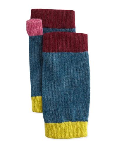 Cashmere Colorblock Wrist Warmers, Dark Teal