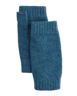 Ribbed Cashmere Wrist Warmers, Dark Teal