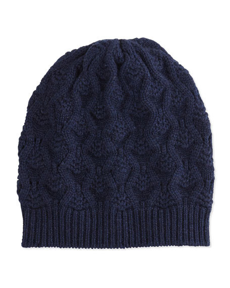 Cashmere Lace-Knit Beanie, French Navy