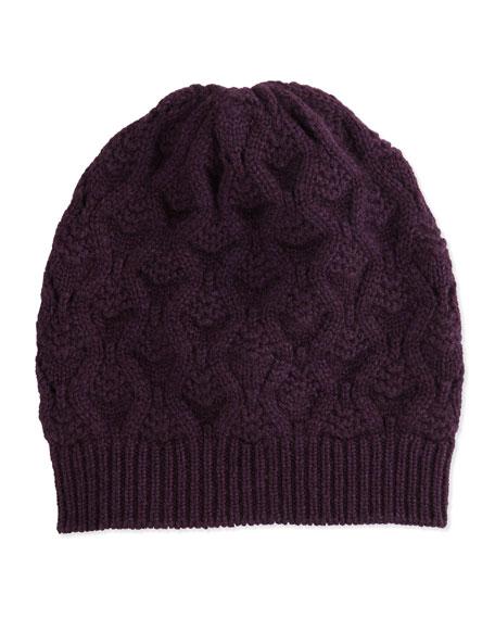 Cashmere Lace-Knit Beanie, Plum