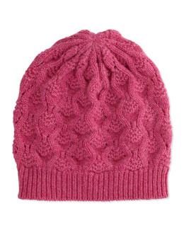 Cashmere Lace-Knit Beanie, Dhalia