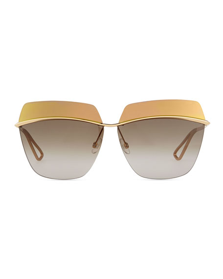 Metallic Colorblock-Lens Sunglasses