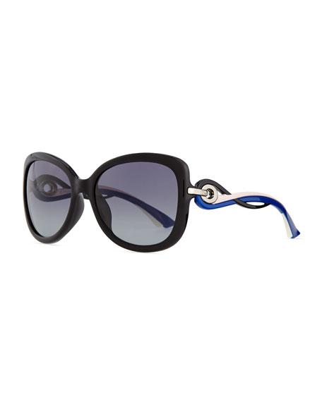 Dior Twisting Diorissimo Sunglasses, Pink/Blue/Black