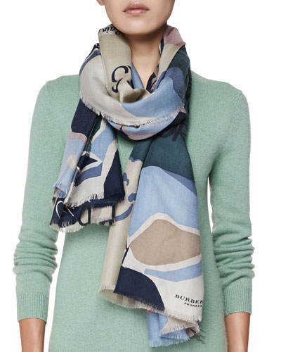 Cashmere Illustrated Stories Scarf, Ash Rose