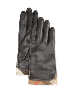 Tech Leather Gloves with Check Trim, Black