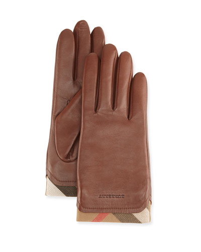 Tech Leather Gloves with Check Trim, Brown