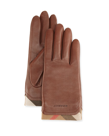 Burberry Tech Leather Gloves with Check Trim, Brown