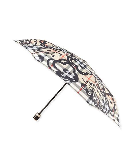 Floral-Print Check Folding Umbrella, Camel