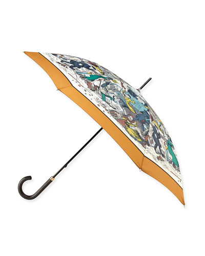 Cats & Dogs Printed Walking Umbrella, Copper/Orange