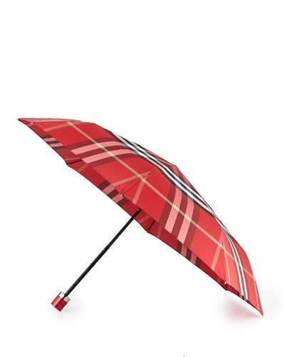 Check-Print Folding Umbrella, Red