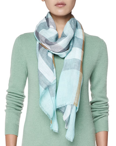 Giant Exploded Check Linen Scarf, Light Green