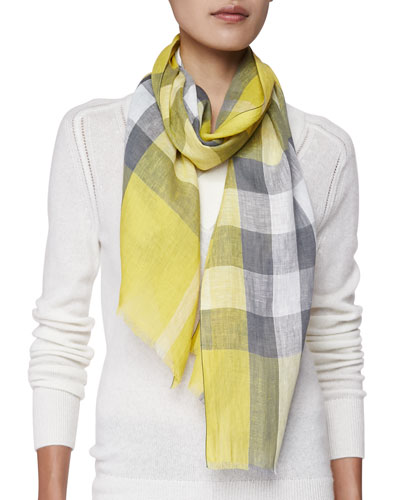 Giant Exploded Check Linen Scarf, Yellow