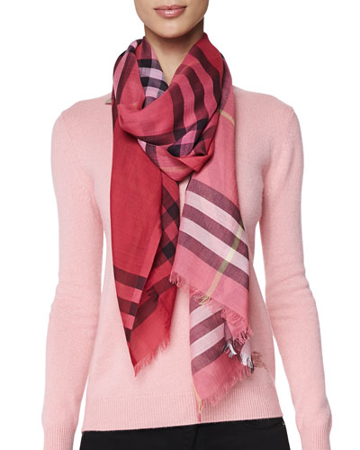 Ombre Check Gauze Scarf, Coral Pink