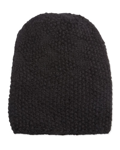 Hat Attack Perfect Popcorn-Knit Slouchy Hat, Black