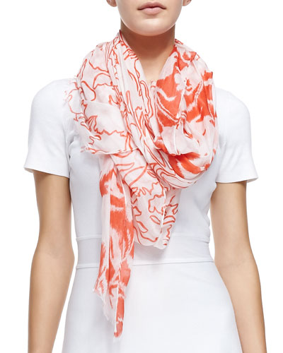 Ethereal Floral-Print Scarf, Orange/White