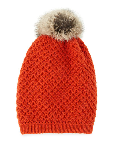 Inverni Cashmere Long Beanie with Fox Pompom