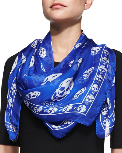 Skull-Print Scalloped Silk Scarf, Royal Blue/White