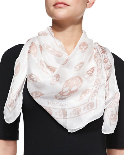 Skull-Print Scalloped Silk Scarf, White/Pink