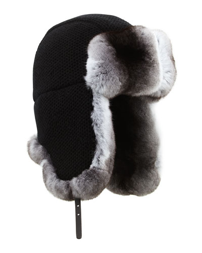 Inverni Cashmere Knit Trapper Hat with Chinchilla Fur