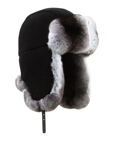 Inverni Cashmere Knit Trapper Hat with Chinchilla Fur