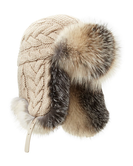 Inverni Cashmere Knit Trapper Hat with Fox Fur