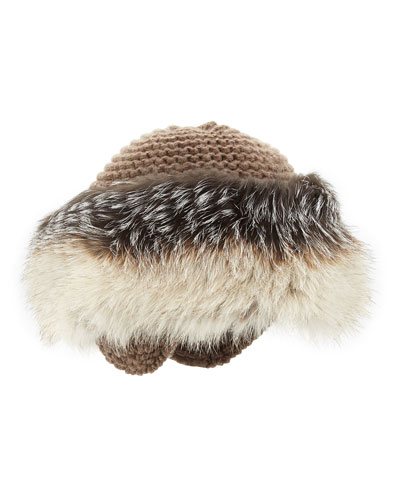 Inverni Cashmere Knit Hat with Fox Fur Brim, Tan