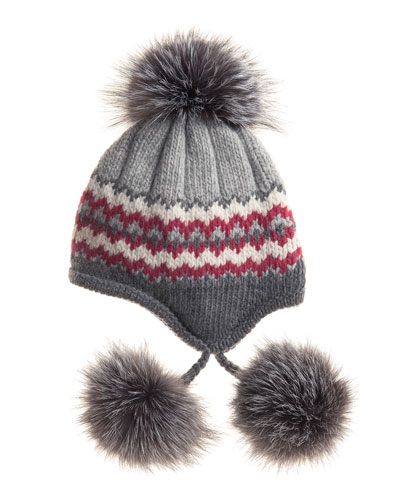Inverni Striped Knit Beanie with Fur Pompoms, Gray