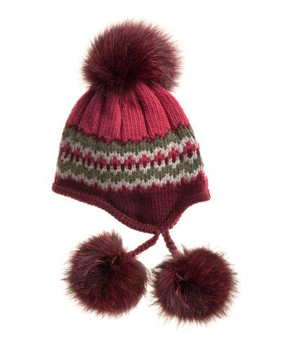 Inverni Striped Knit Beanie with Fur Pompoms, Burgundy