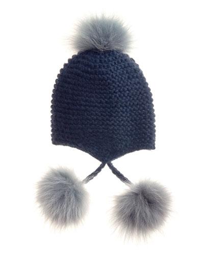 Inverni Fur Pom-Pom Knit Beanie, Navy