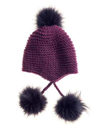 Inverni Knit Hat with Fur Pompoms, Wine