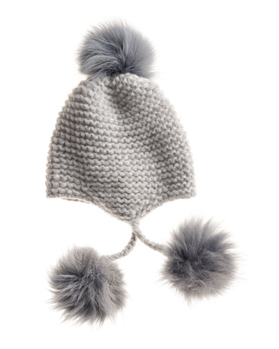 Inverni Fur Pom-Pom Knit Beanie, Heather Gray