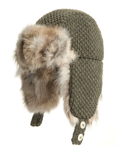 Inverni Fox Fur-Trim Trapper Hat, Dark Green