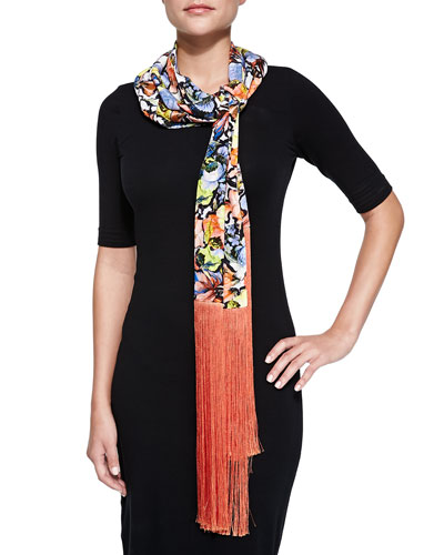 Jardin Scarf with Long Silk Fringe, Multi/Coral