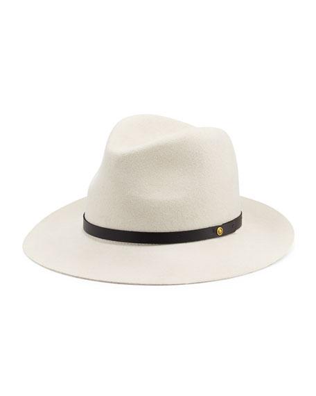 Floppy Brim Wool Fedora Hat, White