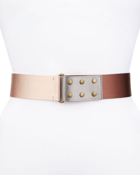 Tricolor Metallic Belt, Nude