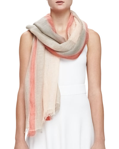 Colorblock-Stripe Linen Scarf