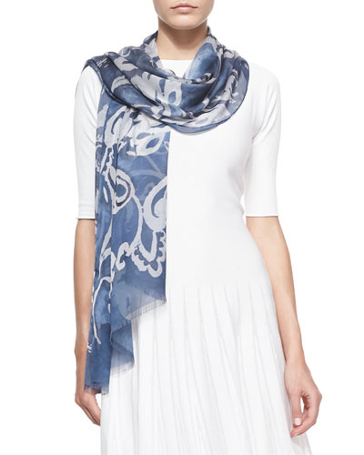 Abstract-Print Voile Stole, Navy