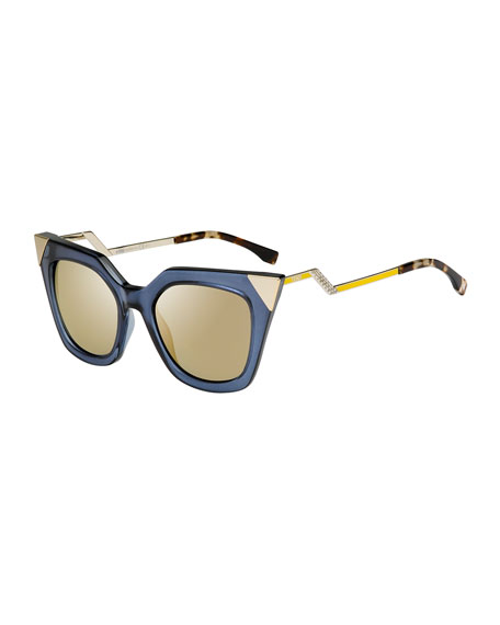 FendiIridia Flash Sunglasses with Mirror Lens, Blue