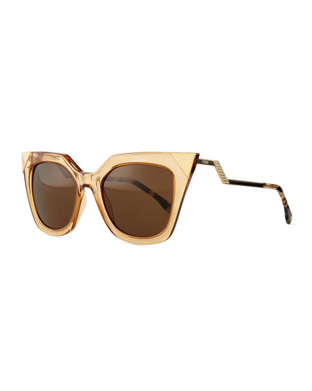 Fendi Iridia Flash Sunglasses with Mirror Lens, Gold