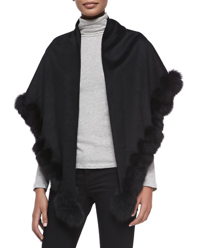 Sofia Cashmere Whip-Stitch Fox Fur Shawl, Black