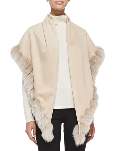 Sofia Cashmere Whip-Stitch Fox Fur Shawl, Blonde
